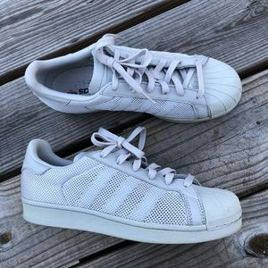 Adidas Superstar ALL GREY MESH shell toe shoes 7
